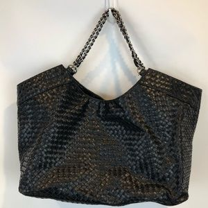 Steve Madden Black Faux Leather Woven Tote Purse